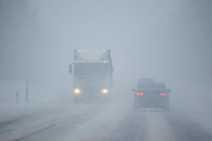 truck driving in bad weather