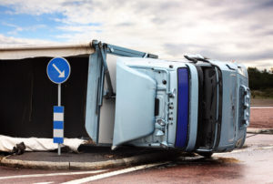 side down truck accident